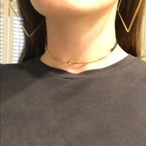 Stella and dot choker black leather and gold